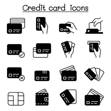 Credit card, Debit card, Payment, Shopping icons set vector illustration graphic design Vektorové ilustrace