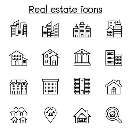 Real estate, building icon set in thin line style Ilustração