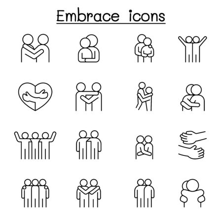 Hug icon set in thin line style