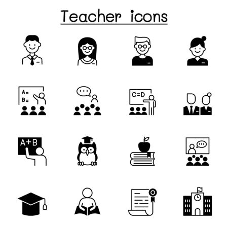 Set of teacher icons. contains such icons as student, learning, reading, school, education, book, knowledge, presentation and more Иллюстрация