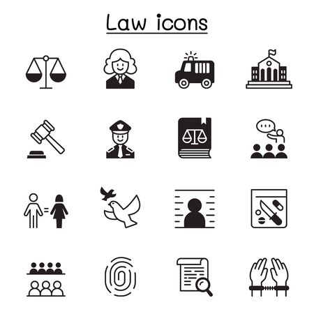 Law & Justice icon set vector illustration graphic design Çizim