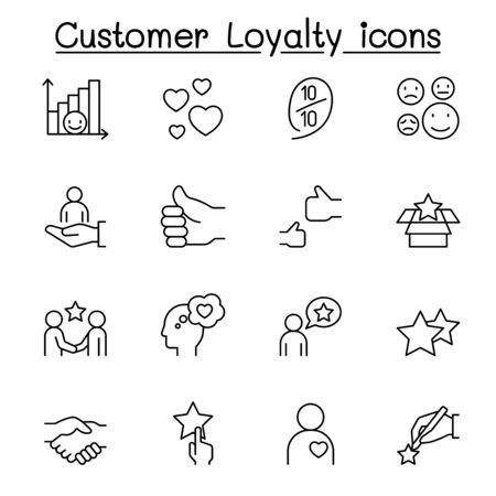 Set of Customer loyalty line icons. contains such icons as review, comment, feedback, customer relationship managment, satisfaction and more