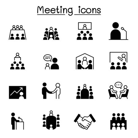 Meeting, conference, seminar, planning icon set vector illustration graphic design