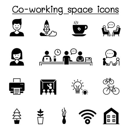 Set of Co-working space & Startup related vector icons. contains such Icons as freelance, bicycle, office, work from home, computer, brainstorm, creative, idea and more.