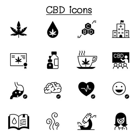 CBD, Cannabis icons set vector illustration graphic design Ilustração