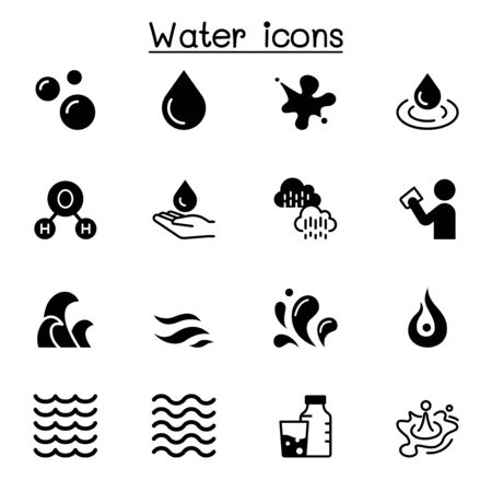 Water, liquid, aqua icon set vector illustration graphic design