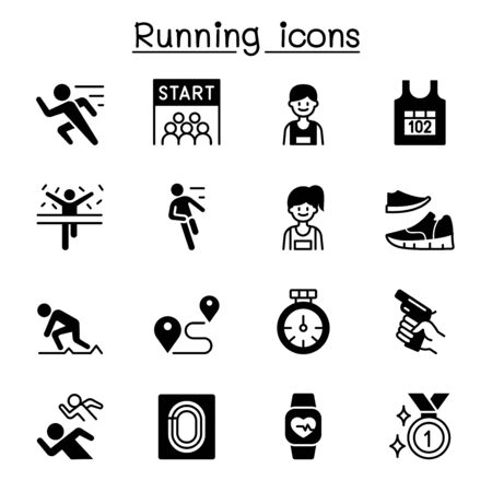 Running competition icon set vector illustration graphic design