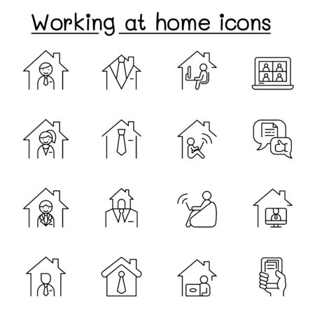 Working at home icons set in thin line style