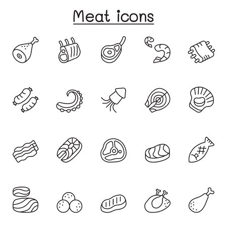 Meat, pork, beef, seafood icons set in thin line style