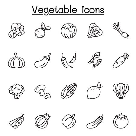 Vegetable icons set in thin line stlye 向量圖像
