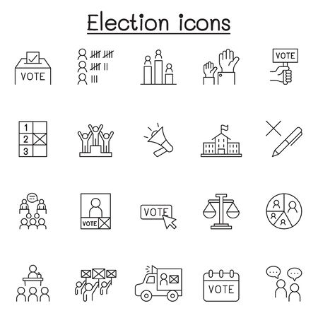 Election icons set in thin line style