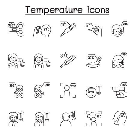 Temperature icons set in thin line style
