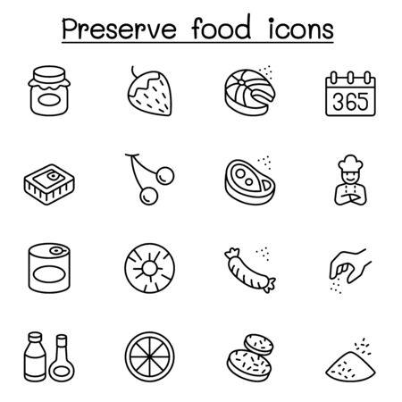 Preserved food icons set in thin line style Vectores
