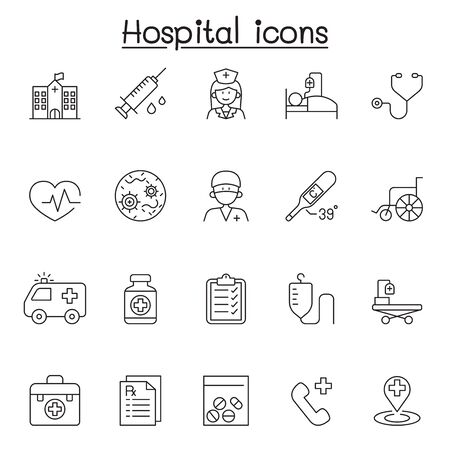 Hospital icons set in thin line style