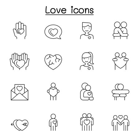 Love icons set in thin line style