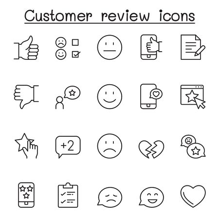 Customer review icons set in thin line style Vectores