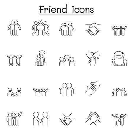 Friend icon set in thin line style