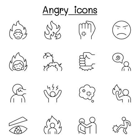 Angry icon set in thin line style Vettoriali