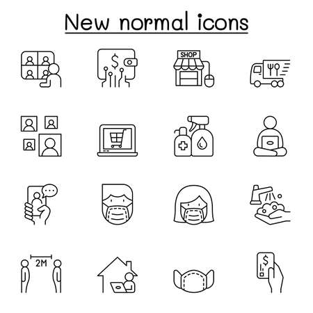 New normal lifestyle icon set in thin line style