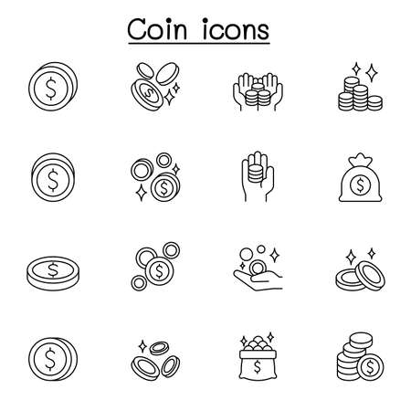 Coin icon set in thin line style Çizim