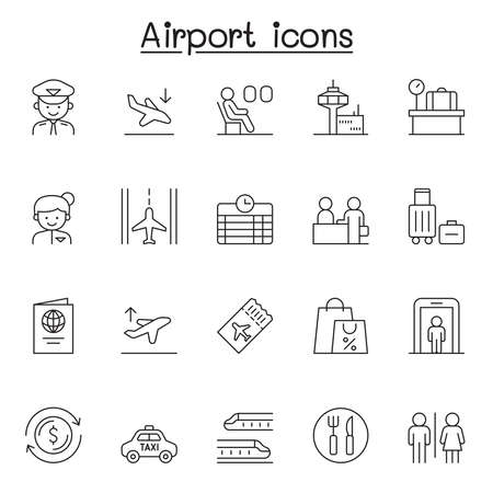 Airport icon set in thin line style Ilustração