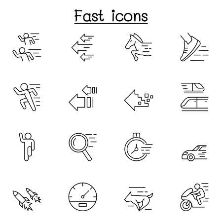 Fast & Speed related vector line icons. contains such Icons as running, racing, rocket, car, horse, internet and more.