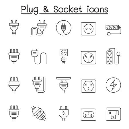 Set of Plug Related Vector Line Icons. Contains such Icons as Socket, outlet, Charge, outlet, wire, cable, cord, prong and more.