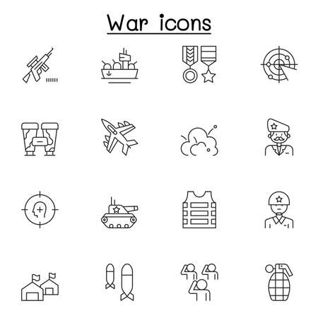 Set of War Related Vector Line Icons. Contains such Icons as soldier, army, military, navy, airforce, bomb, battleship, airplane and more
