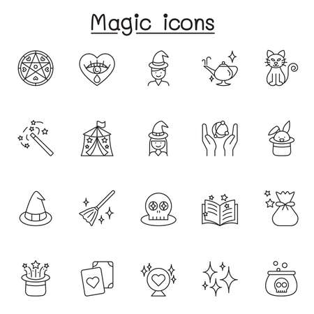 Set of Magic Related Vector Line Icons. Contains such Icons as clairvoyance, magician, witch, Wand, Spell Book, Effect and more Illustration
