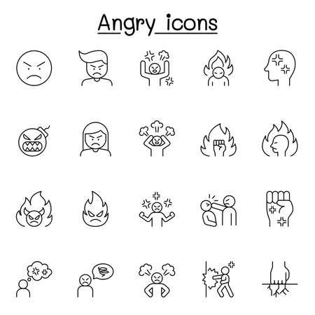 Set of angry Related Vector Line Icons. Contains such Icons as crazy, mad, violence, aggressive, boxing, hit, punch and more