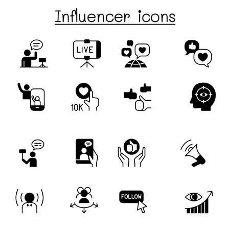 Influence people & Brand ambassador icon set vector illustration graphic design