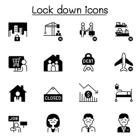 Lock down icons set vector illustration graphic design