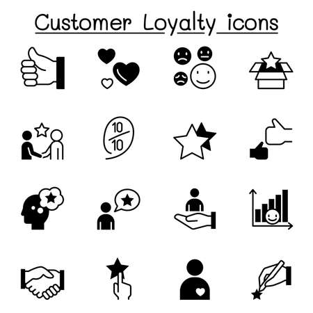 Set of Customer loyalty icons. contains such icons as review, comment, feedback, customer relationship managment, satisfaction and more Illusztráció