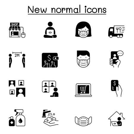 New normal lifestyle icon set vector illustration graphic design Vecteurs
