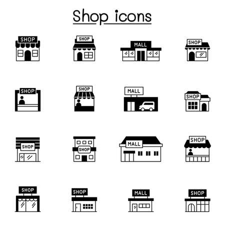 Set of shop icons. contains such Icons as, supermarket, shopping mall, hypermarket, store and more.