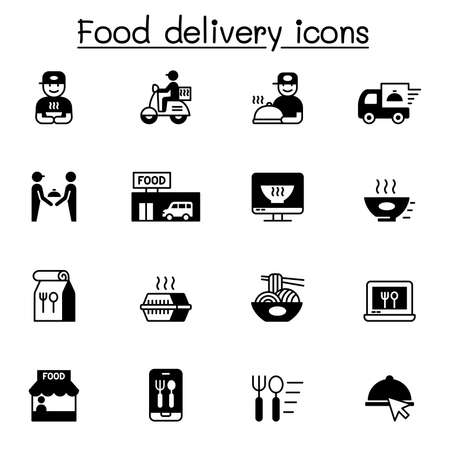 Food delivery icons set vector illustration graphic design Иллюстрация
