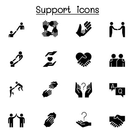 Care, support and sympathize icon set in glyph style Vector Illustration