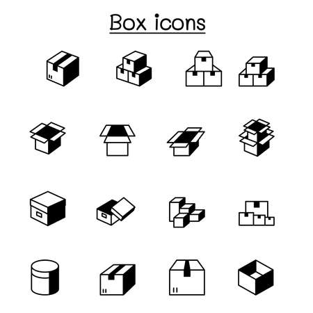 box icons set vector illustration graphic design