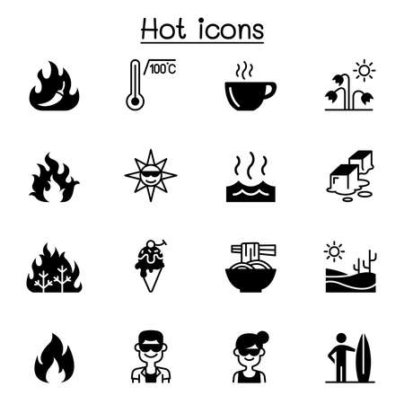 Set of heat related vector icons. contains such Icons as heating, temperature, hot coffee, spicy, chili, summer, sun, melting, fire, flame and more.
