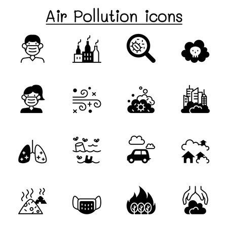 Air pollution & Virus disease icon set vector illustration graphic design