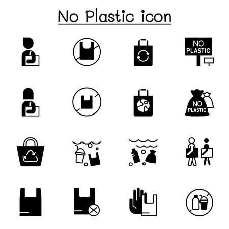 No plastic bag icons set vector illustration graphic design