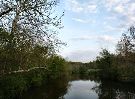 northeast ohio: A view over the Cuyahoga River in Northeast Ohio, USA at twilight Stock Photo