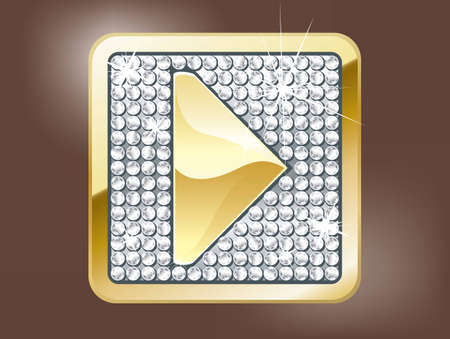 gold bar: Gold play button Illustration