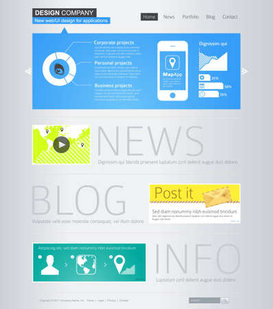 Website design template with infographics Vector