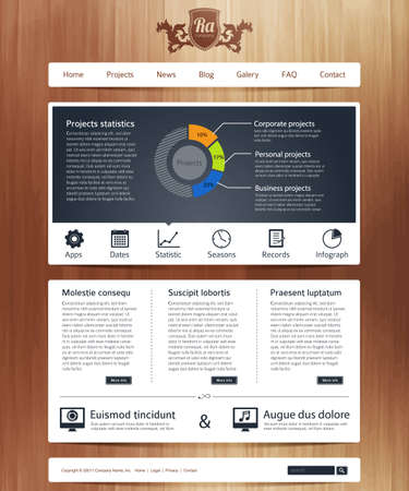 Website design template with infographics Illustration