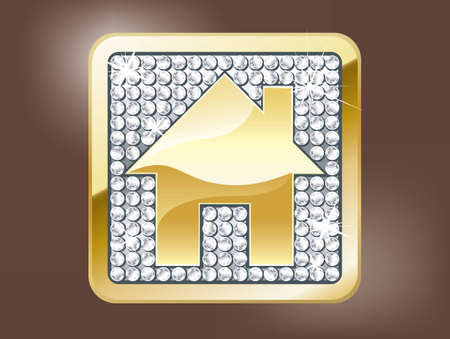 beautiful homes: Gold home button Illustration