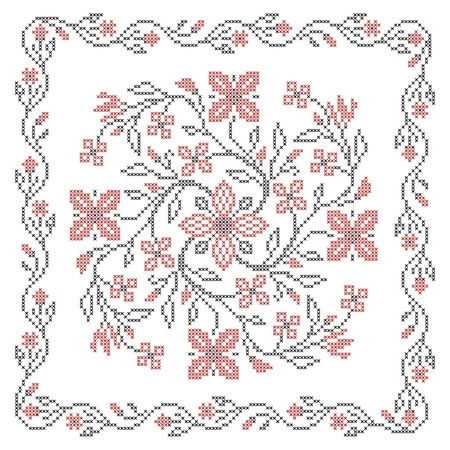 punto cruz: Punto de cruz bordado en estilo étnico ucraniano tradicional