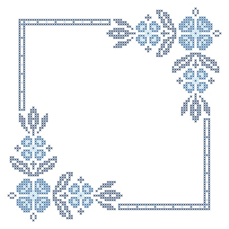 ukraine folk: Cross-stitch embroidery in Ukrainian traditional ethnic style Illustration