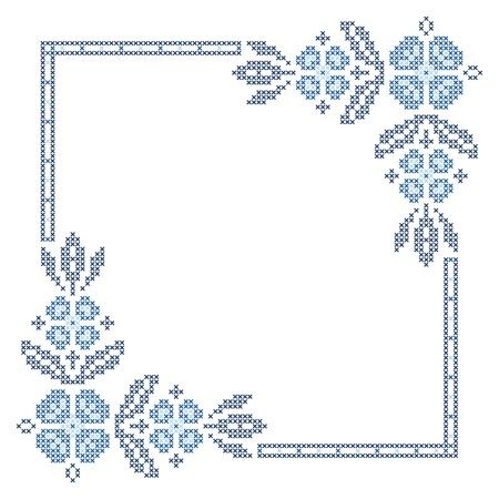 punto de cruz: Punto de cruz bordado en estilo �tnico ucraniano tradicional