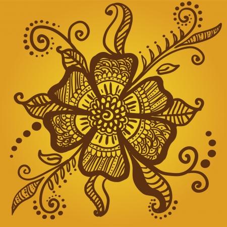 mehendi: Abstract flower for henna mehndi tattoo Illustration